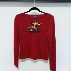 Lauren Ralph Lauren Petite Merino Red Sweater